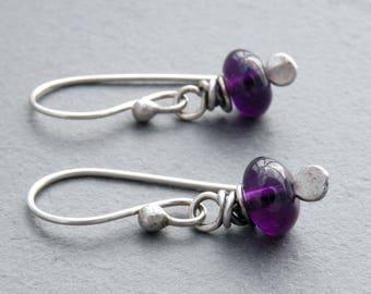 Purple Birthstone Earrings, Amethyst Earrings, February Birthstone, Minimalist Amethyst Earrings, Sterling Silver, Gemstone Earrings, #4592