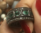 Royalty 4.3 carat oval emerald 1.3 carat champagne diamond pave eternity band ring