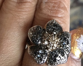 Diamond chocolate champagne black diamond large statement ring size 7 cocktail ring ooak