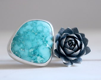 Turquoise ring. Sterling silver ring with Turquoise and Succulent. Succulent ring, natural Turquoise, Flower ring, Succulent jewelry.