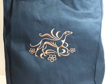 DragonEmbroidery's Graceful Greyhound Embroidered on a Black color Grocery Tote Bag