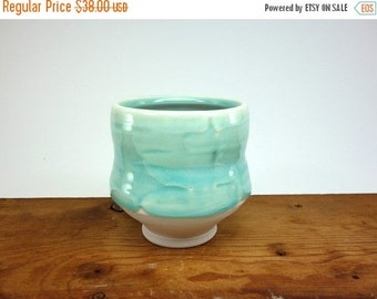 ON SALE Celadon glazed porcelain tea bowl with brushed slip texture