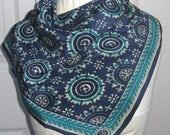 silk bandana .  batik scarf  . silk scarf . batik bandana  . batik silk bandana  . teal and blue silk scarf . made in india