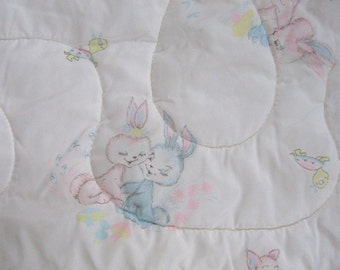 Vintage crib blanket .  nylon crib blanket .  rabbit crib blanket . retro baby blanket . sumerex blanket . nylon baby quilt