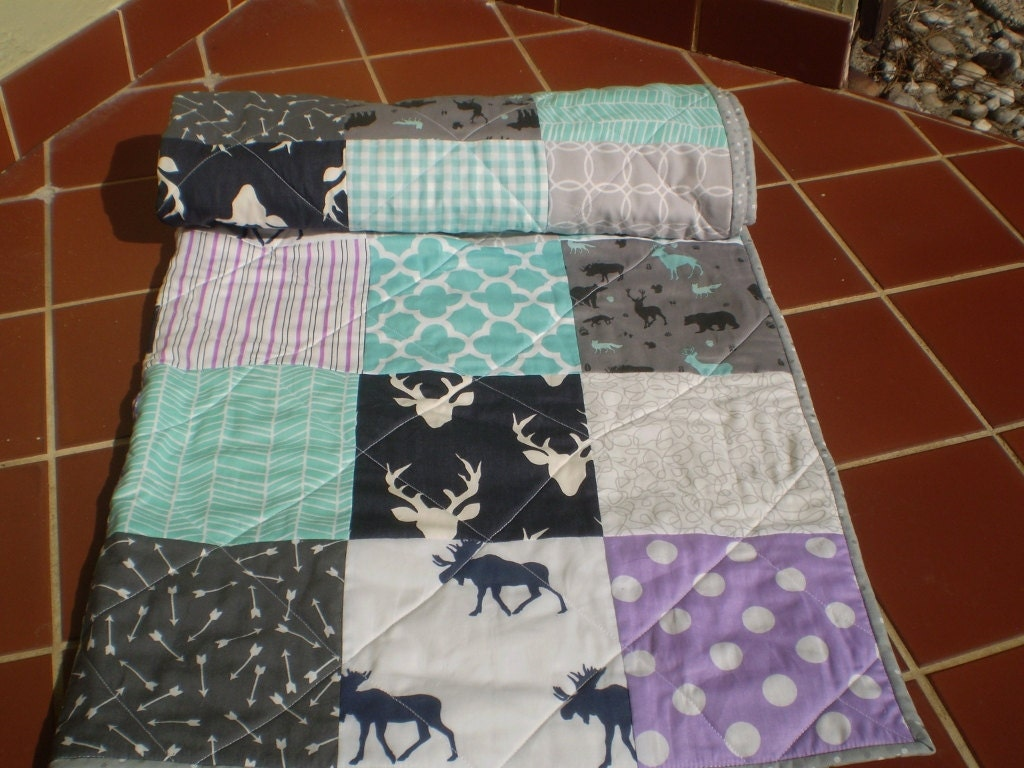 Handmade Baby Quilt Baby Girl Quilt Bedding Deer By