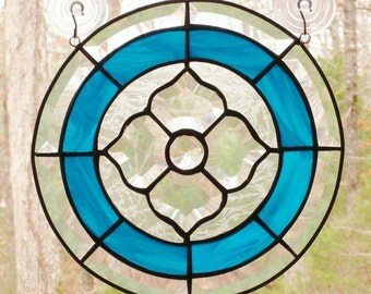 Round Stained Glass Panel, Beveled Victorian Flower with Aqua Blue Border - 12 inches