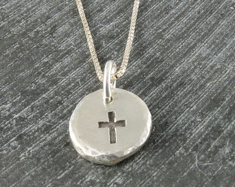 Cross Pendant Organic Rustic Recycled Sterling Silver Cross Jewelry