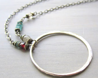 Silver Hammered Circle Necklace, Bohemian, Hammered Jewelry Asymmetrical Circle, Gemstone Silver Circle Necklace, Soulful Gift for Her