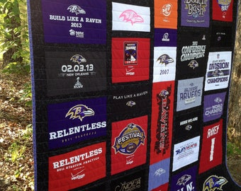 NFL quilt, NFL t-shirt, jersey memory quilt, nap quilt, lap quilt, twin quilt ... custom order to your size