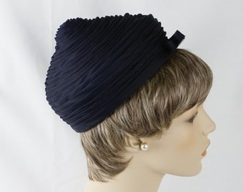 Vintage 1960s Hat Navy Blue Voile Tucked Pointed Pillbox by Jacques Sz 21