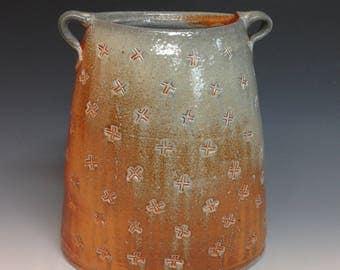 Oval Vase with Stamped Decoration.  Soda Glazed Stoneware Pottery