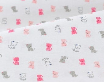4463 - Cat Cotton Jersey Knit Fabric - 62 Inch (Width) x 1/2 Yard (Length)