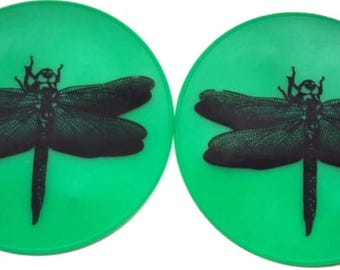 Green Silicone Pair of Dragonfly Table Coasters Spoon Rest Office Coasters