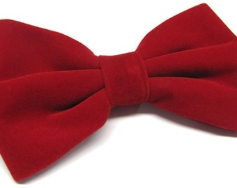 Mens Bowtie. Red Velvet Bowtie With Matching Pocket Square