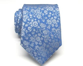 Mens Ties Blue Silver Gray Floral Mens Silk Necktie Wedding Ties With Matching Pocket Square Option