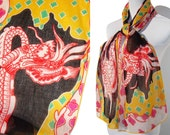 Vintage Sant'Angelo Dragon Scarf Oblong Cotton Novelty Print Sally Gee