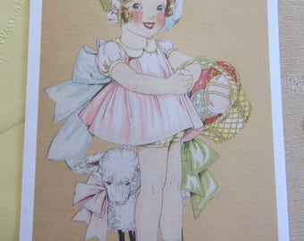 Hallmark Easter Card - Unused Antique Inspired Vintage Hallmark HAPPY EASTER Greeting Card Warm Wishes Little Girl Basket Lamb