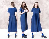TSHIRT dress MAXI summer loose OVERSIZE short sleeves vintage Stretchy Cotton knit spring summer / Small