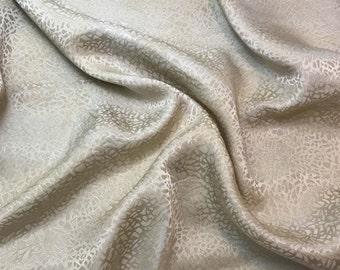 "Hand Dyed Ecru PEBBLES - Silk Jacquard Fabric - 9""x22"" remnant"