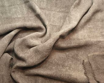 Hand Dyed TAUPE BROWN Raw Silk Noil Poplin Gauze Fabric - 1 Yard