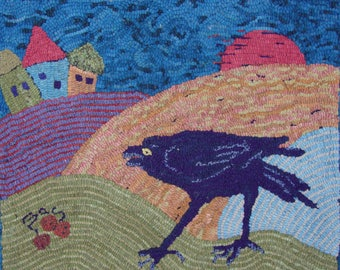 """Hooked Rug -- """"Crow"""" by  Sharon A. Smith"""