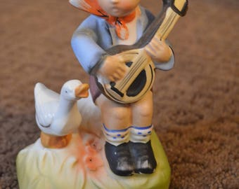 Vintage Arnart 5th Avenue Hand Painted Figurine - Boy With Lute Banjo And Duck 2622