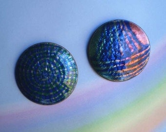 Vintage 60s Modernist Copper Enamel Pins Lot 2 Handmade in Norway