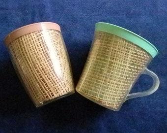 Two Vintage Raffiaware Burlap Plastic Mugs,