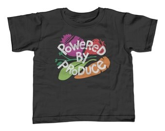 Toddler Tee - Powered By Produce Shirt - Childrens Sizes 2T-3T-4T-5T-6T - Cute Food Vegetables Vegetarian Vegan Healthy Kids Tshirt