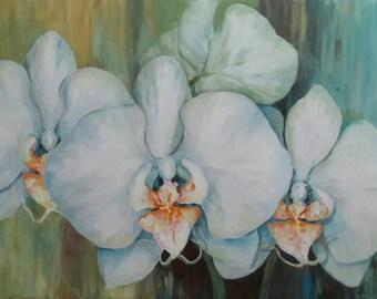 "Canvas Wall Art24"" × 36"" - White Phaleanopsis Orchid - Abstract Modern Art-"