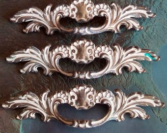 SALE! 3 wide mid century ornate brass metal French Provincial handles