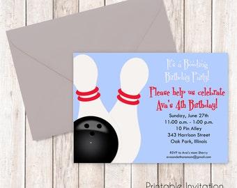 Bowling Party Invitation, Printable Invitation Design, Kids Birthday Invitation, Custom Wording, JPEG File