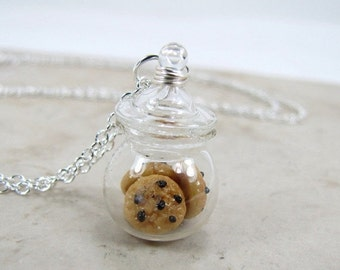 SALE Chocolate Chip Cookie Jar Necklace Miniature Food Jewelry