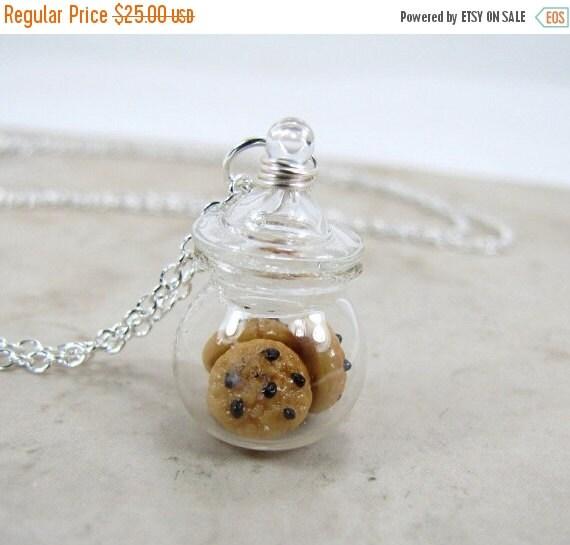 SALE Chocolate Chip Cookie Jar Necklace Miniature Food Jewelry
