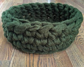 Cat Bed - Chunky Knit Crochet cat bed or small dog bed - Olive Green Cat Bed