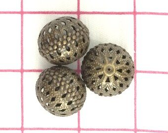 De-stash Bargain Round Bronze Filigree Beads Free Shipping!