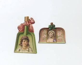 Pair Of Antique Tobacco Cards - Kinney Bros - Die Cut Dust Pans - Late 1800's