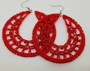 Crochet earrings, Beaded, silver, bohemian jewelry, crochet hoops, beaded earrings, crochet jewelry, hoop earrings, boho chic, red