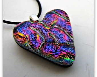 Purple Heart  Dichroic Pendant, Glass Pendant  Aanraku Sterling Silver plated  bail, Purple or Black Satin 2 mm Cord, Jewelry Accessories