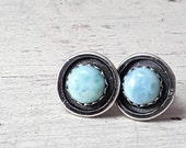 Tiffany Blue AAA Larimar Stud Earrings Sterling Silver Posts Dominican Larimar Silversmith