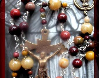 Handmade Rosary  Australian Mookaite Gemstone Beads Hand Wrapped Blessed w Padre Pio Relic