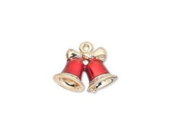 Christmas Bell Charm, gold-finished pewter and red enamel.