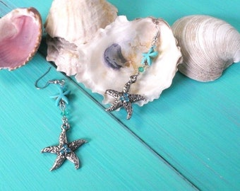 starfish earrings - mermaid earrings, starfish charm, turquoise starfish, sea star earrings, beach wedding, mermaid accessories