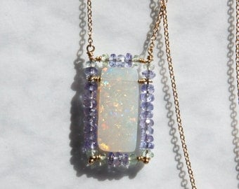 Australian Opal Necklace with Tanzanite - 14K Solid gold