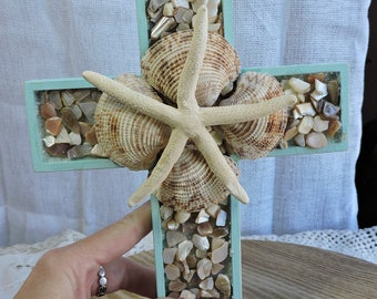 Hanging Shell Cross In Aqua