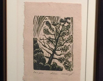 FRAMED 8x10  Original Woodcut Print Landscape Lone Pine in Zion National Park Canyon Wall