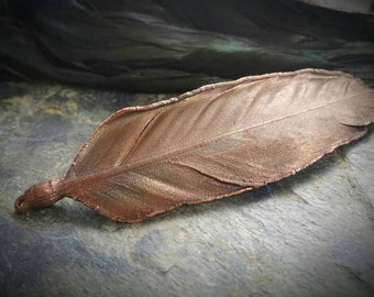 Electroformed real feather copper pendant