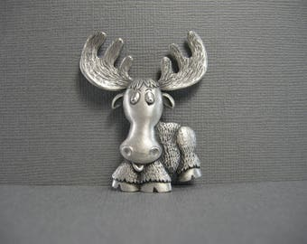 vintage JJ pin, moose pin by JJ, funny, figural moose pin, whimsical, pewter brooch, Jonette Jewelry