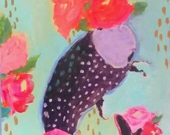 Fish painting , roses, pink, aqua, bohemian, kantha