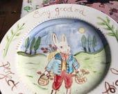 Bunny Plate, Handpainted Rabbit Plate